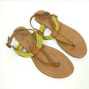 Lucky Brand Leather Yellow Tan Sandals 7